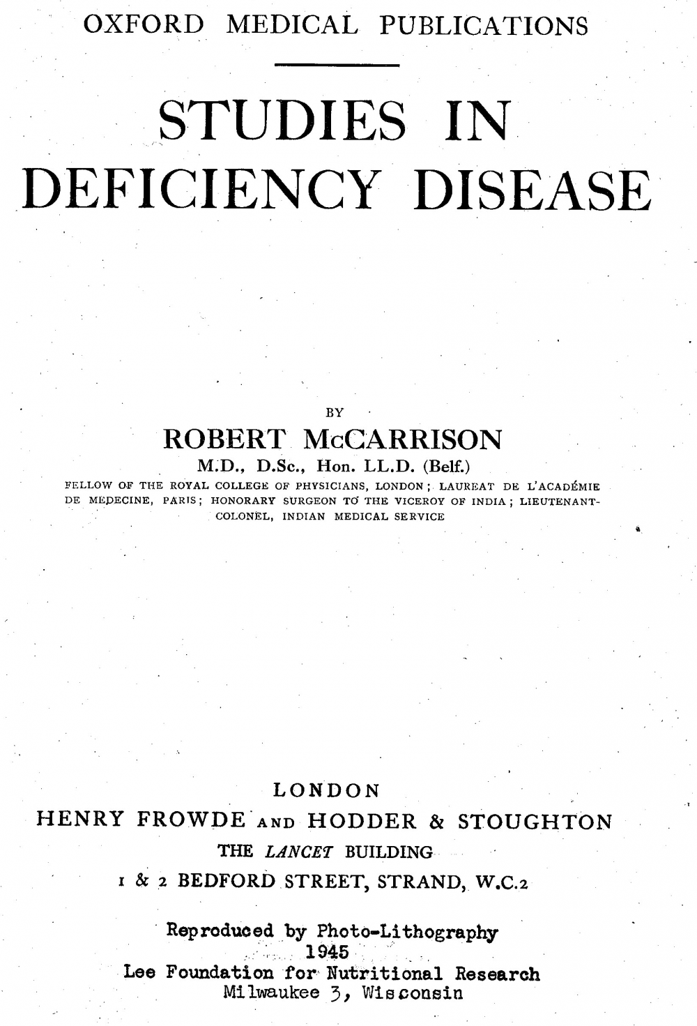 Studies in Deficiency Disease front page
