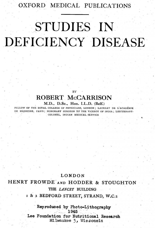 Studies in Deficiency Disease front page